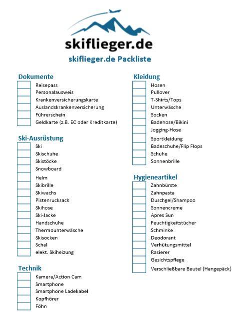 Praktische Packliste für den Skiurlaub und Winterurlaub.